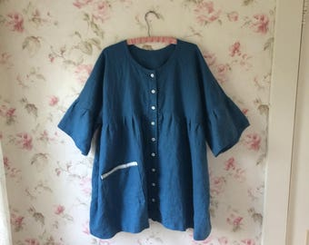Washed Linen Dress Jacket Button Down Front Sweet Prairie Lagenlook Ready To Ship