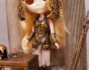 Blythe Gold Greek Armor handmade Armor Corset OOAK Blythe Outfit  Blythe Ancient Greek Blythe