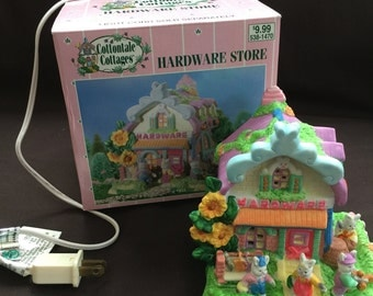Easter Cottontale Cottages hand painted Porcelain Hardware Store