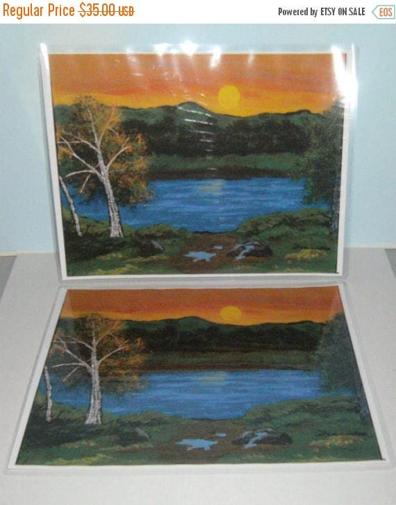 Spring Sale Place Mats - Laminated Kitchen Placemats - Fine Art Print - Sunset River Placemats - 2 Placemats - From Original Art - Art Table