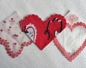 Three Vintage 1950s Valentine Handkerchiefs