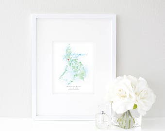 Philippines Watercolor Map | Destination Map Print | Personalized Watercolor Map | Honeymoon Map | Anniversary Map | Watercolor Wedding Map