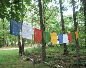 Tibetan-Buddhist Prayer Flags-6 1/2 X 8- Send prayers for Success, Peace,Long Life,Prosperity & Knowledge Out to The World-Mix Deity-5 Color