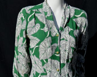 Vintage 40's Mode O Day hawaiian shirt blouse rayon top rockabilly swing WWII sL by thekaliman