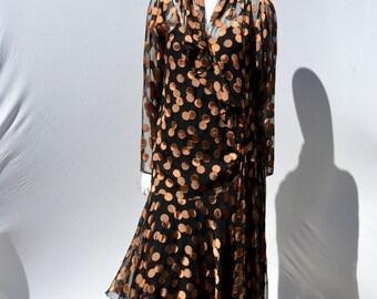 vintage janice wainwright flapper dress 80's metallic polka dot silk blend size USA 10 UK 12 by thekaliman
