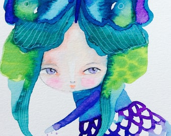 """Butterfly girl - Watercolor painting, girl portrait, nursery wall art, whimsical painting, 8x5"""", colorful art, kids rooms, nature watercolor"""