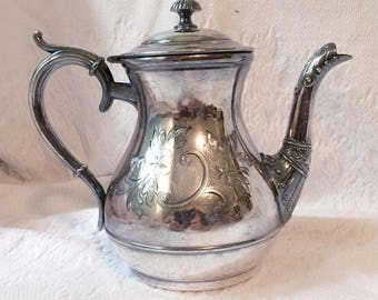 Victorian Silverplate Teapot Ornate 19th century
