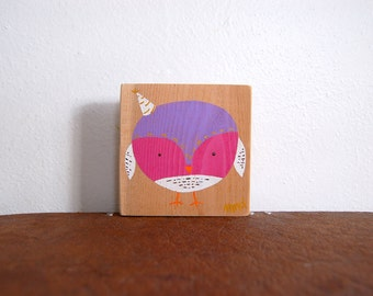 Party Hat Owl Sign in Reclaimed Wood - Rustic Children's Room Artwork - Handpainted Original Nursery Art - Purple, Pink and White