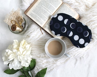 Navy Blue Lunar ' Phases' Astronomy Unisex Sleep Mask Handmade to Order