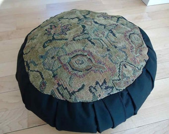 Meditation (Zafu) cushion made with a Tapestry circle and Black twill sides and back