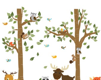 A Walk in The Forest Wildlife Animal Stickers Wall Decals Children Bedroom Decor