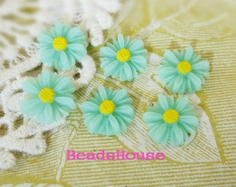 429-03-311-CA  6pcs Beautiful Sunflower Cabochon - Blue/Yellow Centre