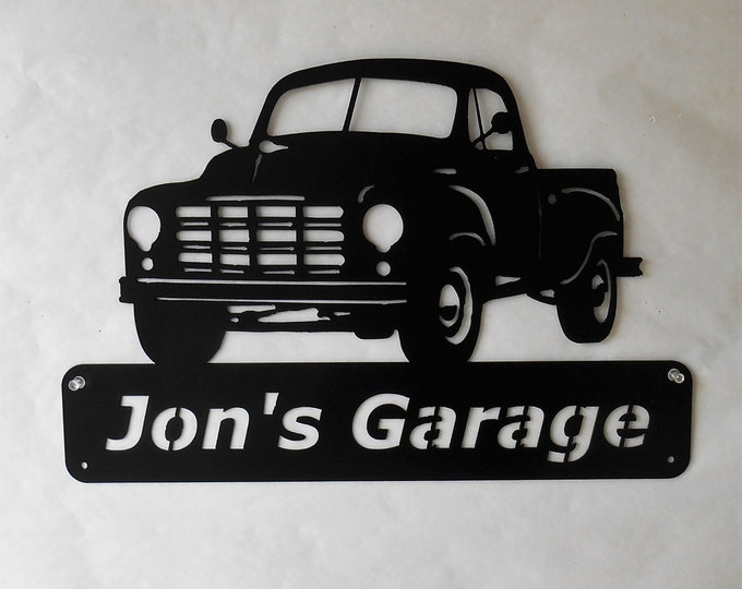 1949 Studebaker Truck, Man Cave Wall Decor, Classic Truck Art, Garage Sign, Satin Black, Personalized Metal Sign