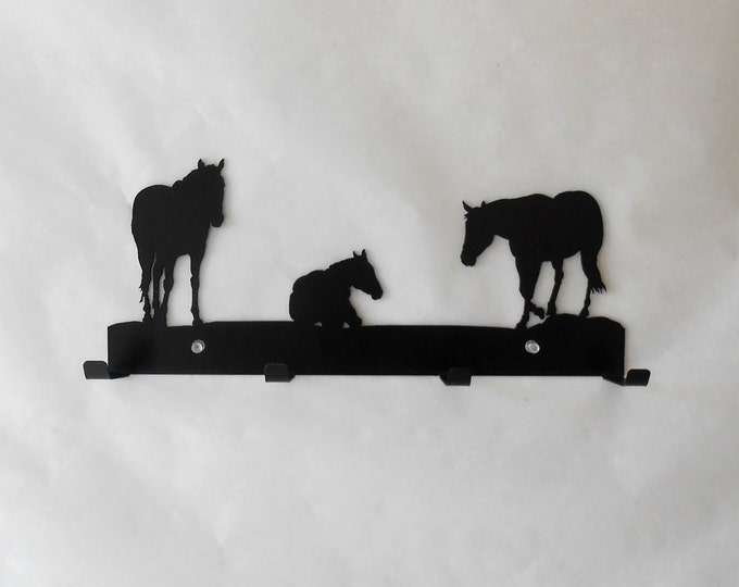 Horses Coffee Four Cup Rack Metal Art Wall Hanging Organizer Storage