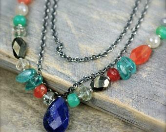 Lapis Gemstone Necklace. Long Layering Gemstone Necklace. Multi Gemstone Layering Necklace.  Slip on Long Necklace.