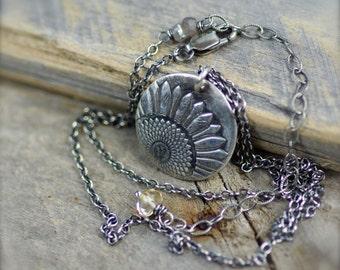 Fine Silver Sunflower Pendant Necklace.  Fine Silver Flower Pendant.  Layering Necklace.