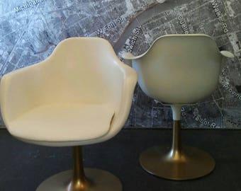 Krueger Genuine Tulip Chairs Mcm Mid Century Swivel Arm Gold And Off White  Fiberglass Pair Set