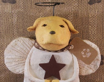 Yellow Lab Angel, OOAK, hand-sculpted from papier mache, Retriever Angel, Yellow Lab Statue