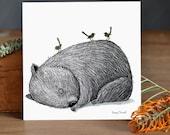 Gold: Sleepy Wombat with Fairy Wrens Fine Art Print