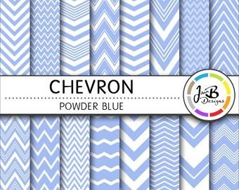 Chevron Digital Paper, Powder Blue, Blue, White, Chevron, Zig Zag, Digital Paper, Digital Download, Scrapbook Paper, Digital Paper Pack