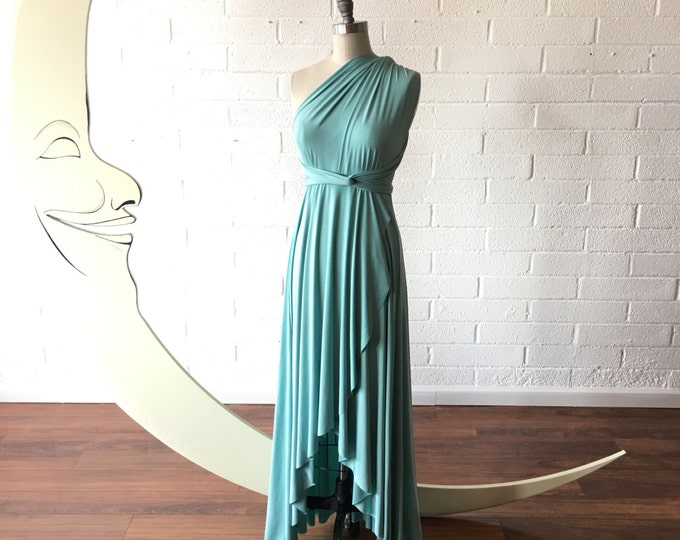 Vintage Typewriter Turquoise TULIP HEM~ Long Octopus Convertible Wrap Gown. Robins Egg, Tiffany, Something Blue, CORALIE