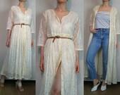 80s Ecru LACE BUTTON Down Maxi Dress Vintage 80s French Vanilla Lace Maxi Dress 1980s Rayon Cotton Button Down Lace Maxi Dress Duster Coat