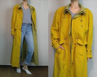 80s Gold Cotton CAPED DRAWSTRING Waist + Neck Trench Coat Vintage 1980s Golden Yellow Trench Coat Yellow Cotton Drawstring Coat Caped Trench