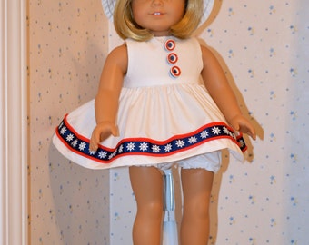 18 Inch Doll Clothes White Sleeveless Dress with Red and Navy Trim, White Panties and Matching Bucket Hat by SEWSWEETDAISY