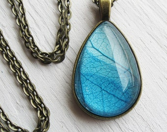Real Leaf Necklace - Sky Blue Teardrop Botanical Necklace