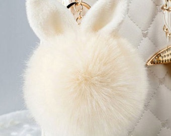 Fur Faux Rabbit  Bunny Pom Pom Keychain Purse Pendant Bag Accessory Backpack Charm Fur Pompom