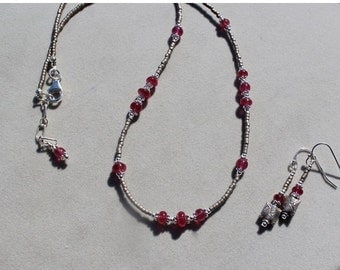 20% Christmas Sale Cherry Red Spinel on sterling silver necklace and earrings set by EvyDaywear, hand made one of a kind beaded jewelry set