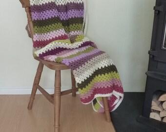 BLANKET / THROW ( large)  . ' Secret Garden ' . Super-soft.100% premium acrylic. Crochet. Stripes . UK seller... Ready to ship.