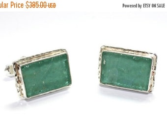 Winter Sale Ancient  Hand Made Work One Of A Kind Roman Glass 925 Sterling Silver Cufflinks