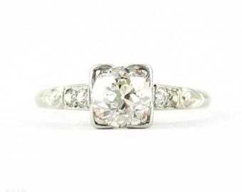 Old Mine Cut Diamond Engagement Ring, 0.61 ct Antique Diamond in Art Deco Square Shape Handmade Platinum Mount.