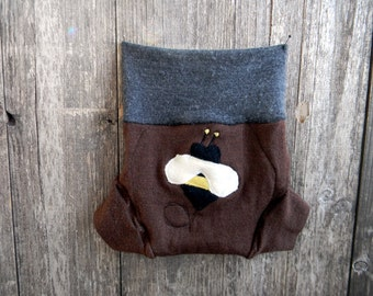 Upcycled Merino Wool Soaker Cover Diaper Cover With Added Doubler Brown / Gray With Bumble Bee Applique MEDIUM 6-12M