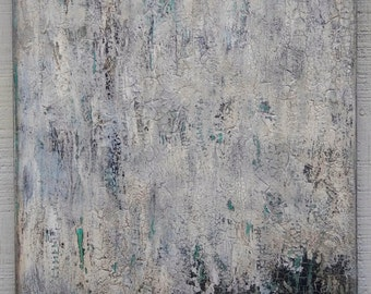 Neutral Minimalist Abstract Texture Painting, 16 x 20 Modern Wall Art, Gray White Painting