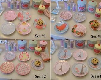 MINIATURE Paper Plates - Set of 8 - Choose 1/12 Scale or 1:6 Scale Miniature