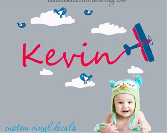 Airplane flying  with Clouds and Name - Airplane Wall Decal Boy Name Vinyl Wall Decals-Boy Name Monogram Vinyl Wall Decal - Kids Wall Decals