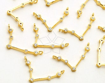 PD-2083-GD / 2 Pcs - Zodiac Sign Sideways Pendant, Constellation, Aries, the Ram, March, April Birthday, Gold Plated Brass / 18mm x 10mm