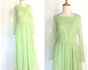 Vintage 60s Boho Maxi - hippie dress - green bridesmaid - wedding dress - sheer sleeve - M L