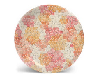 Melamine plate, dinner plate, peach faux mosaic decorative plate, salad plate, dessert plate, dinnerware, 8 inch plate, 10 inch plate