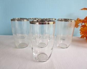 Vintage Silver Rimmed Glasses - Set of 6
