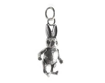 Dancing Rabbit Sterling Silver Charm
