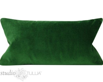 Emerald Velvet Lumbar Pillow Cover - 12X22 - ONE - green velvet - designer velvet - ready to ship