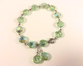 Green Crystal Bracelet, Vintage Jewelry, Beaded Bracelet, Green Bracelet, Vintage Bracelet, 1950s Sparkly Bracelet, Green Nailhead Crystals