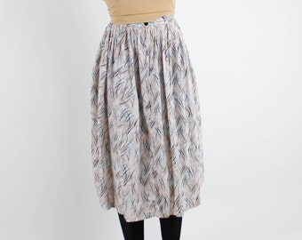 Vintage 80's rayon skirt, abstract pastel background with black squiggle / line pattern, pleated, below knee length, belt loops - Small
