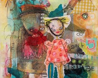 Abstract Portrait Art Print. dark childlike art, outsider art, art brut, strange home decor, surrealism painting, raw art, colorful painting
