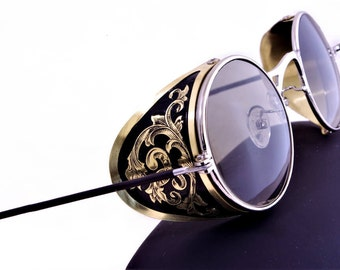 Steampunk Goggles Aviator Sunglasses Brass Side Shields Victorian engrave vintage Driving glasses Gradient Green Shade