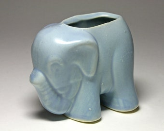 Vintage Small Blue Elephant Planter - circa 1950's