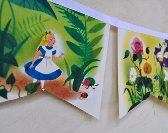 ALICE in WONDERLAND Banner Little Golden Story Book Disney Vintage Repurposed Childrens Gift Party Banner baby shower decoration eco flowers